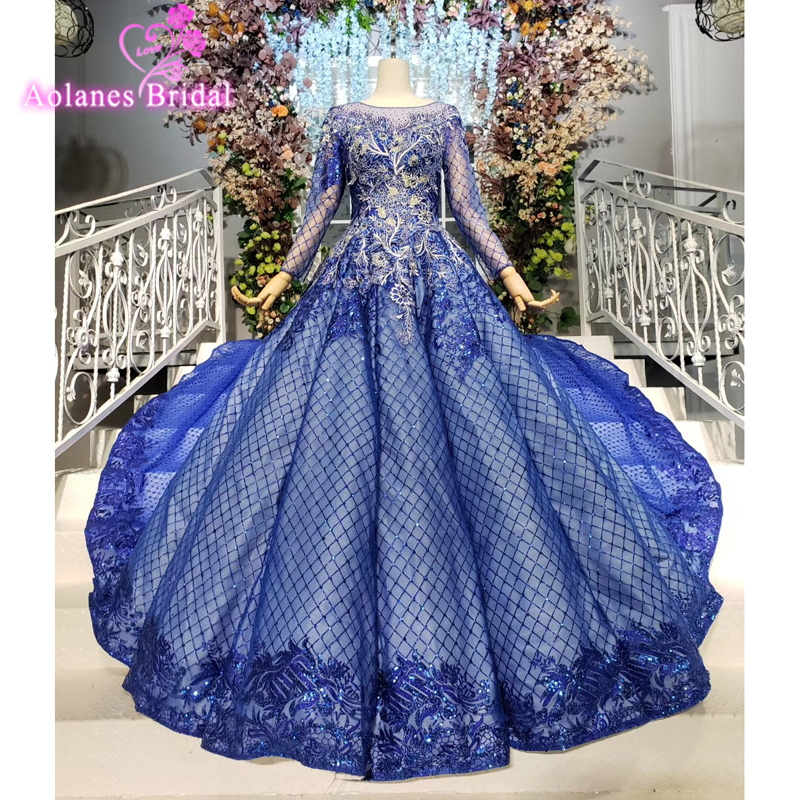Royal Blue Prom Dresses Long Ball Gown Lace Up Back Court Train Beaded Shiny 3d Flowers Lace Formal Dress New Vestidos De Festa