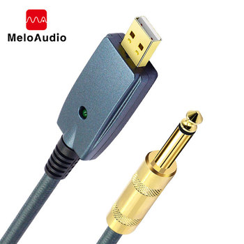 USB to Guitar Cable Interface Male 6.35mm Jack Electric Accessories Audio Connector Cord Adapter for Instrument 3M - discount item  15% OFF Musical Instruments