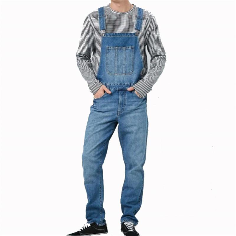 MORUANCLE Men's Fashion Denim Bib Overalls With Big Pocket Workwear Jeans Jumpsuits For Man Washed Suspender Pants Size S-XXXL