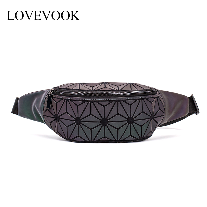 LOVEVOOK Fanny Pack Women Waist Pack Female Belt Bag For Girls Small Purse Waist Pack Ladies Mini Banana Geometric Luminous Bag