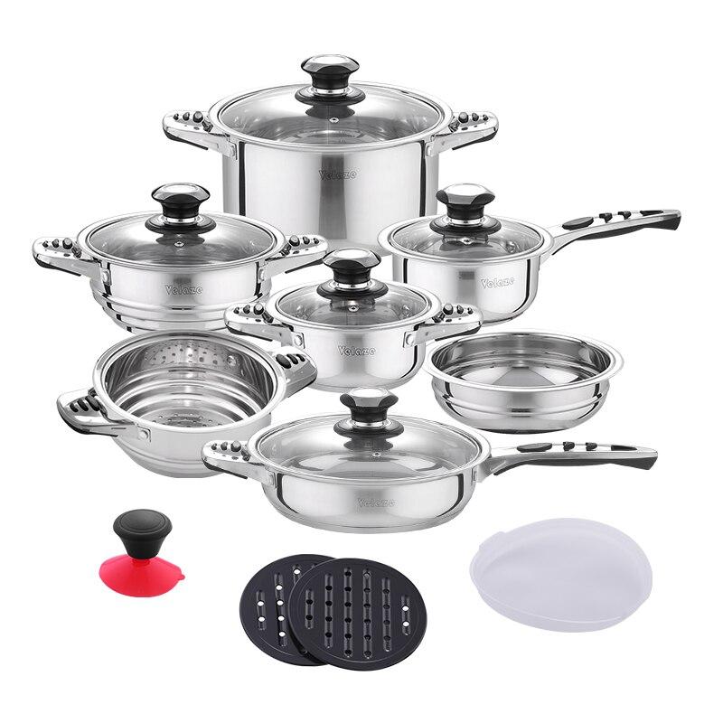 Velaze 16-Pedaço Conjunto de Panelas de Aço Inoxidável Cooking Pot & Pan Indução Conjunto Incluem a Panela, Panela, bacia de salada, prato Fumegante de Inserção