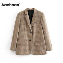 Aachoae Casual Single Breasted Blazer Women Houndstooth Plaid Long Sleeve Suit Notched Collar Office