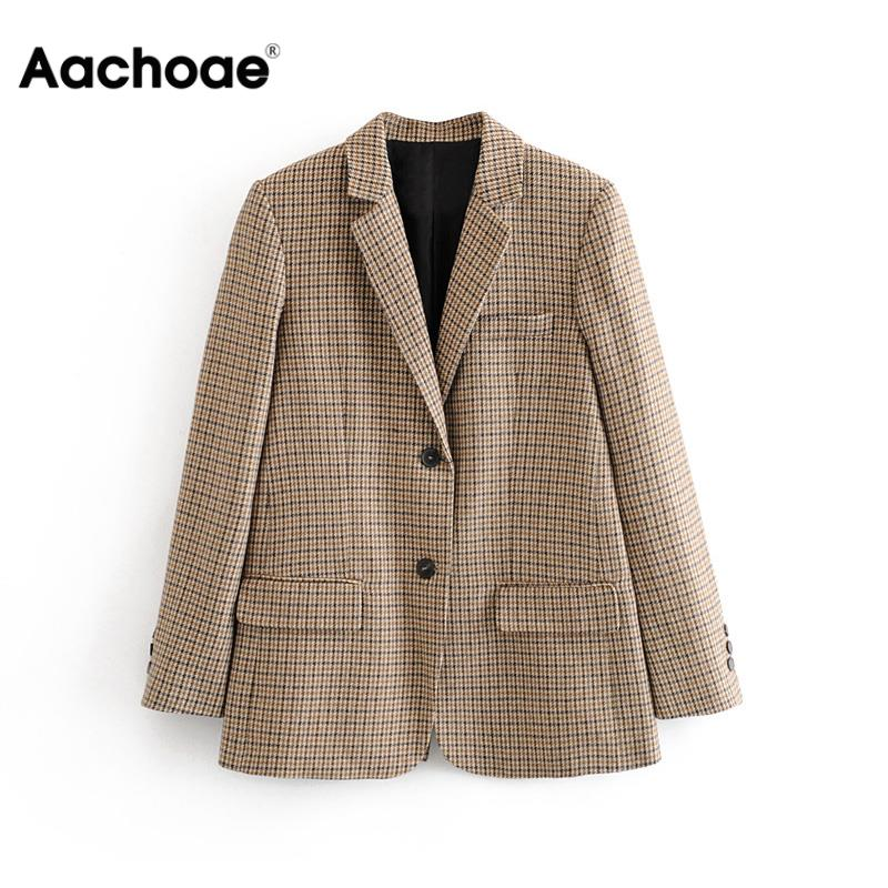 Casual Single Breasted Blazer Women Fashion Houndstooth Plaid Long Sleeve Suit Notched Collar Office Ladies Tweed Jacket Coats