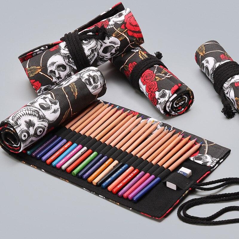 Rose Skull 36/48/72 Holes Canvas Roll Pen Curtain Pencil Bag Case Makeup Wrap Holder Storage Pouch School Supplies