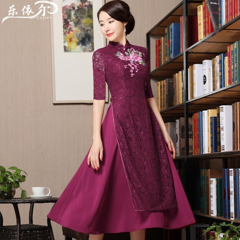 Summer Short Sleeve New Style Lace Daily Life Embroidered Retro Viet Nam Cheongsam Mid-length Dress Big Hemline-Shaped Women's E
