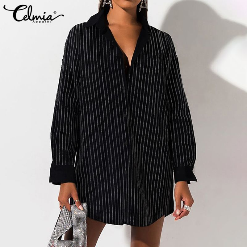 Celmia Women Long Shirts Fashion Lapel Striped Loose Ladies Long Sleeve Buttons Blouses Casual Office Vintage Shirt Plus Size 7