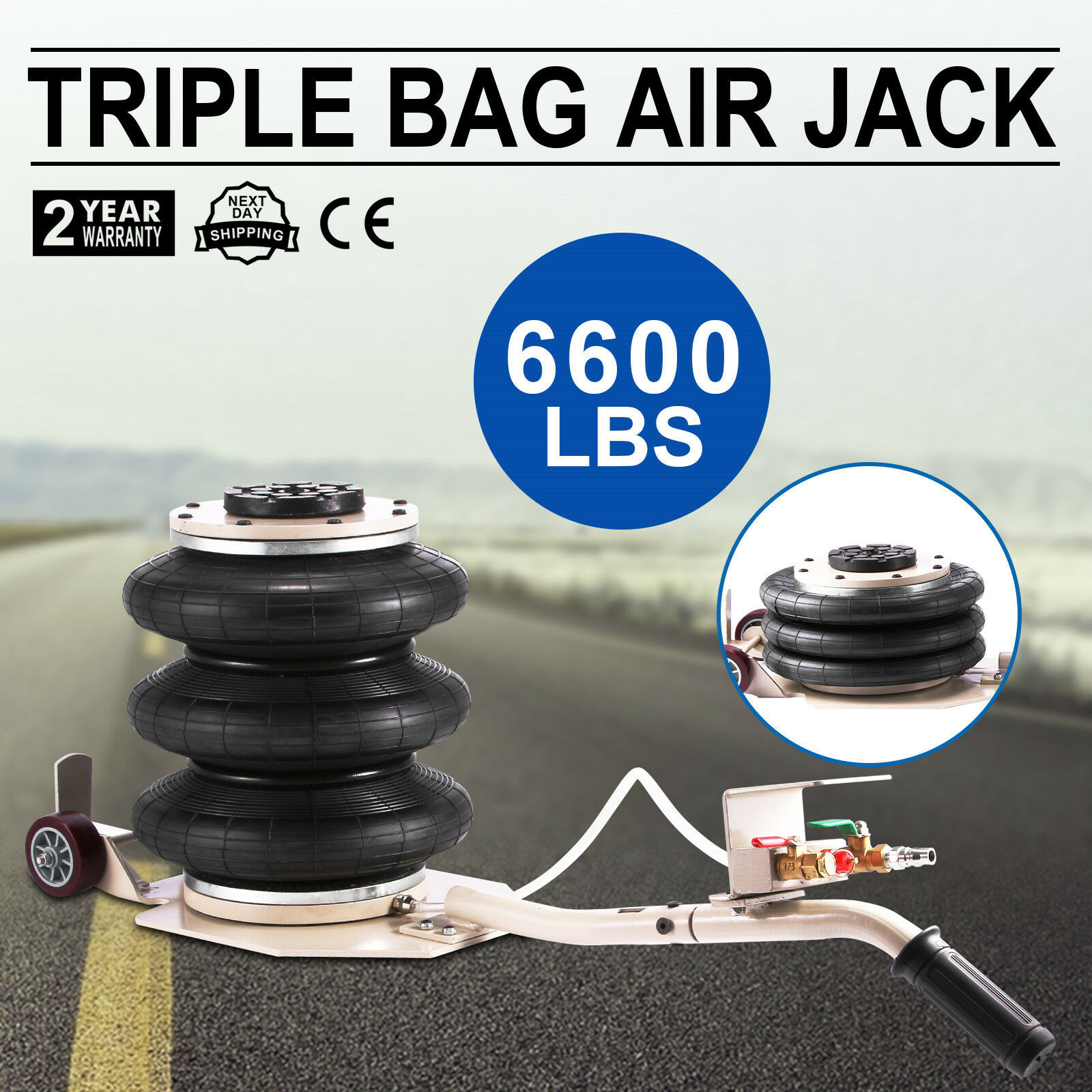 Triple Bag Air Jack Pneumatic Jack 6600LBS Quick Lift 3 Ton Heavy Duty Jacking 16 Inch Lifting Height Pneumatic Air Jack 6600LBS
