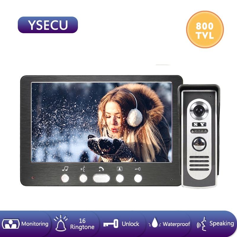 YSECU 7'' Black Wired Door Intercom Video Door Phone With 800TVL Support Electronic Lock Home Video Intercoms Outdoor Waterproof