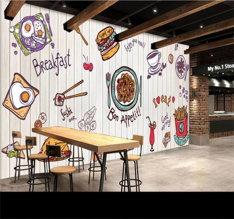 Custom 3D Wallpaper Delicious Hand-painted Fast Food Background Wall Premium Waterproof Material