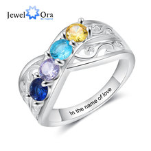 Floral-Rings Birthstones Customized Engraving Gifts Jewelora Family Women with 3-5 Round