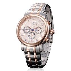 IK kolorystyka zegarki zegarki mechaniczne dla mężczyzn luksusowy kalendarz ze stali nierdzewnej tydzień Multi ekran funkcyjny zegarki 100m wodoodporny Zegarki mechaniczne    -