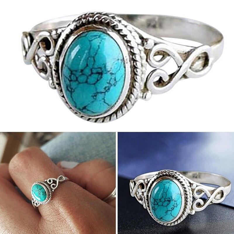 Винтажное кольцо из натурального камня в античном стиле, модные ювелирные изделия, подарок, кольцо на палец из голубой бирюзы для женщин Сва...