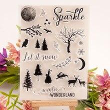 Craft-Supplies Stamping Photo-Album Diy Scrapbooking Silicone-Seal Moon-Tree Custom Ink-Pad