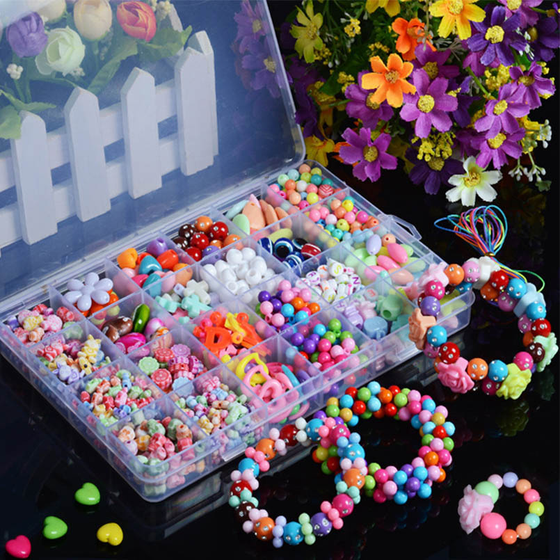 DIY Colorful Acrylic Beads Girls Puzzle Toy Jewelry Necklace Bracelet Handmade String Bead Girl Children Making Toys Hair Crafts