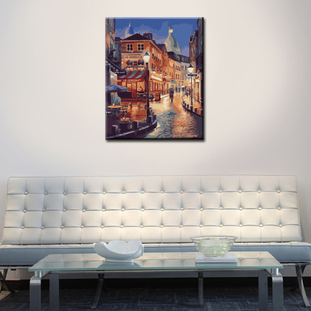 WEEN Street Night Lover DIY Painting By Numbers Kit Acrylic Paint Wall Art Picture Hand Painted Oil Canvas Painting 40x50cm in Painting Calligraphy from Home Garden