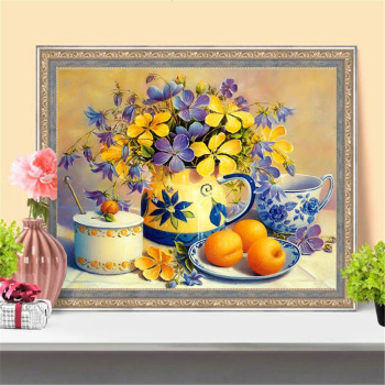 Huacan 5D DIY Diamond Painting Fruit Flowers Full Square Diamond Art Embroidery Mosaic Home