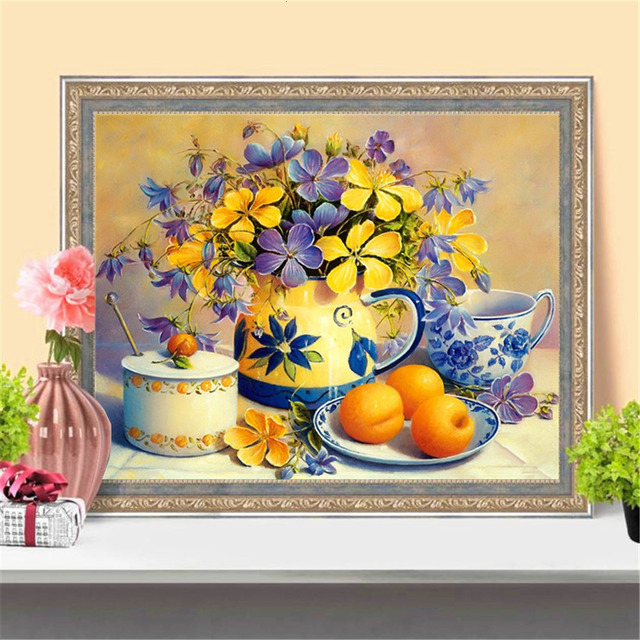 Huacan 5D DIY Diamond Painting Fruit Flowers Full Square Diamond Art Embroidery Mosaic Home Decoration