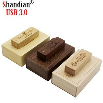 SHANDIAN USB 3.0 1PCS free logo Wooden saber usb+box usb flash drive Memory stick pendrive 4GB 16GB 32GB 64G photography gift
