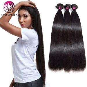 Angelbella 3 Bundles Brazilian Virgin Hair 18 20 22 Straight Hair Bundles Natural Black Pure Human Hair Straight Hair Bundles