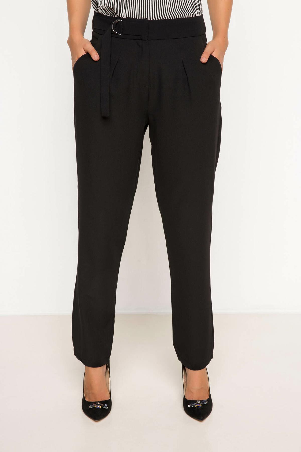 DeFacto Office Ladies Suit Pants Female Formal Belts Straight Trousers Women's Fashion Simple Pants Black - H7904AZ18SP