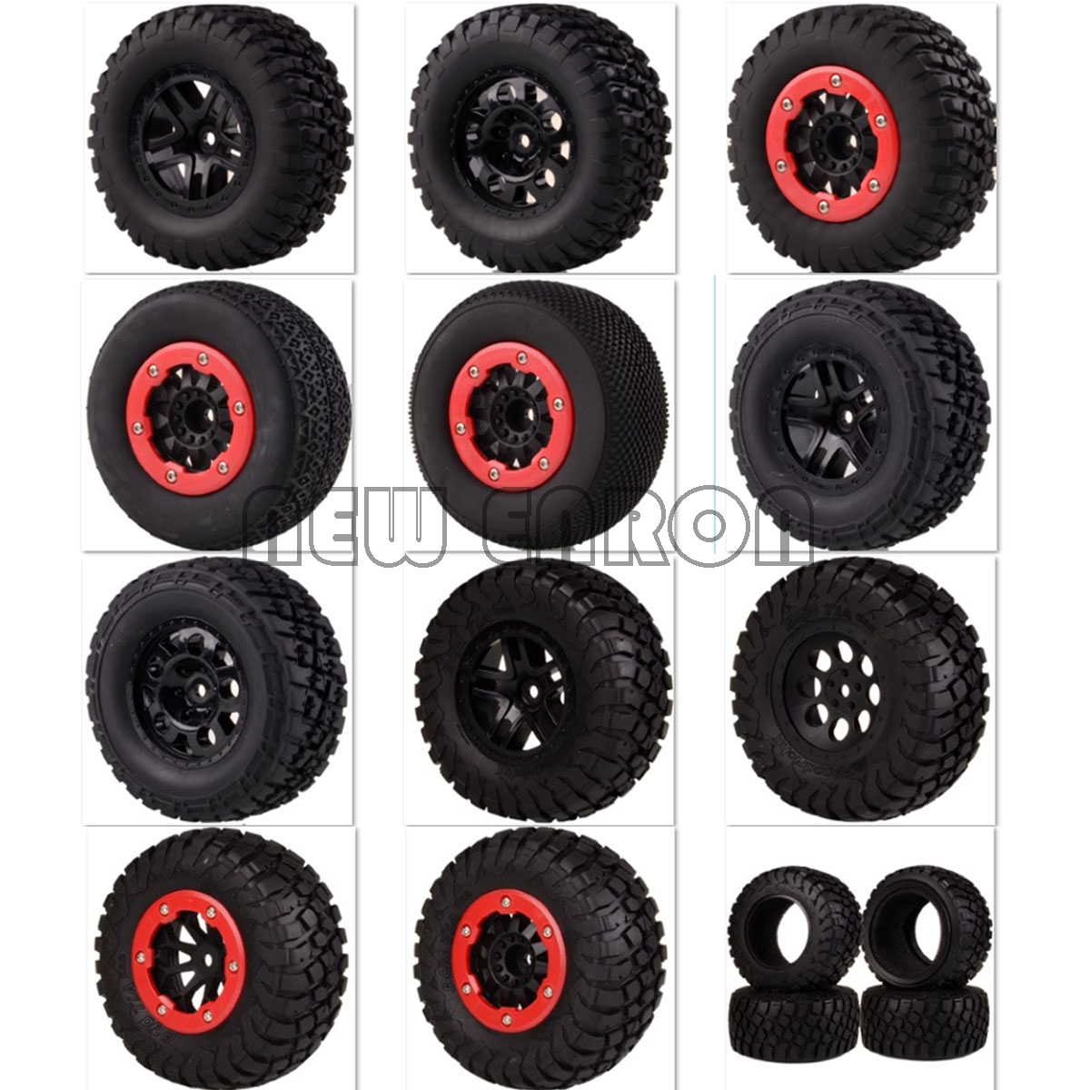 NEW ENRON 4PCS Bead-Lock Short Course Truck Tire Tyre & Wheel Rim Hub 12MM HEX FOR Fit 1:10 1/10 Traxxas Slash 4x4 VKAR 10SC HPI