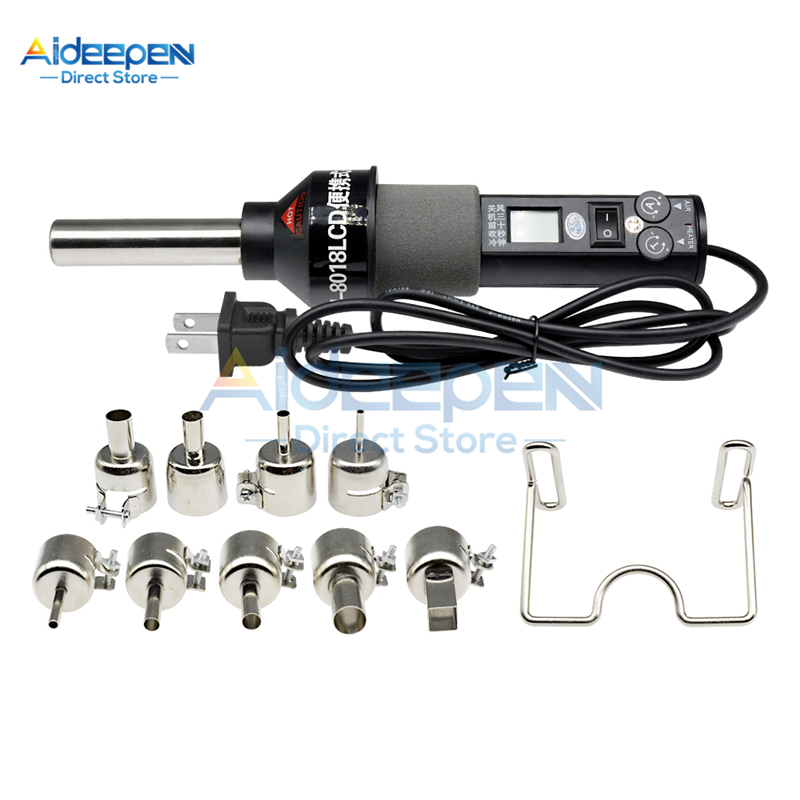 450W 110V 220V LCD Adjustable Temperature Heat Guns Rework Soldering Station Welding Solder Iron IC SMD BGA With Nozzle Bracket