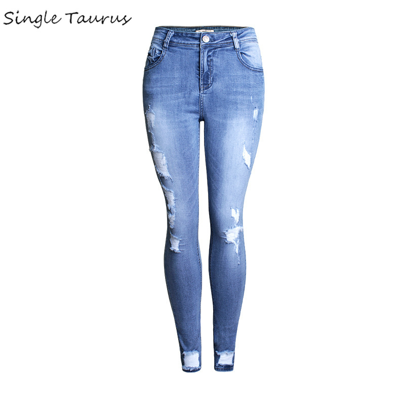 Distressed Woman Jeans High Waist Push Up England Style Blue Woman Clothes Denim Pants Streetwear Women's Ripped Jeans 2020