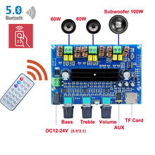 2*60W+100W Bluetooth 5.0 TPA3116D2 Power Subwoofer Amplifier Board 2.1 TPA3116 Audio Stereo Equalizer AUX TF Remote Class D Amp