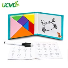 Magnetic Tangram Puzzle Jigsaw Montessori Educational Toy Puzzles Drawing Board Learning Challenge For Kids Children Gifts Toys 150 puzzles book magnetic tangram toys challenge iq montessori educational book for kids children gift