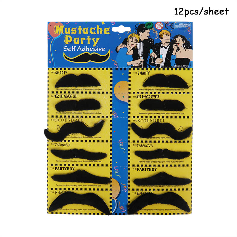 12pcs Costume Pirate Party Cosplay Fake Mustache Photo Props Fake Beard Whisker