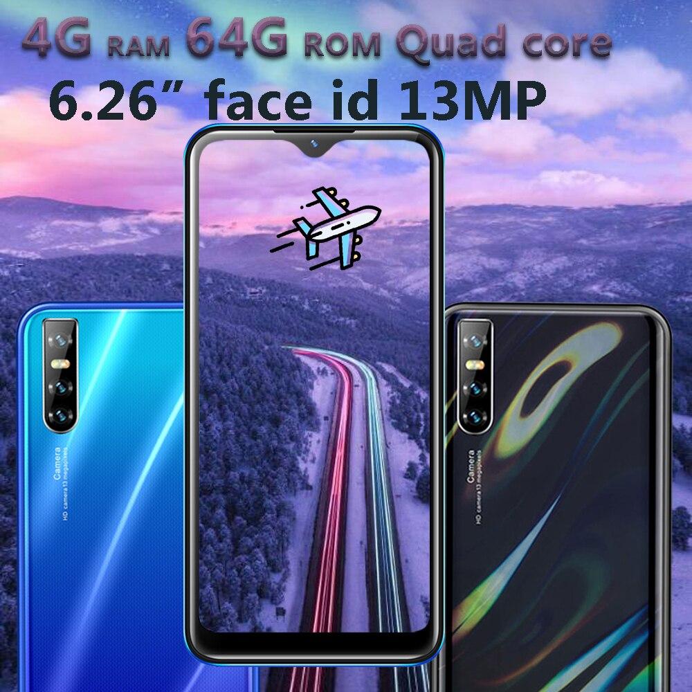 Глобальный 8A 4G Оперативная память Android мобильный телефон 6,26 дюйма 64G Встроенная память 13mp HD Камера капли воды Экран 4 ядра Face ID разблокирован...