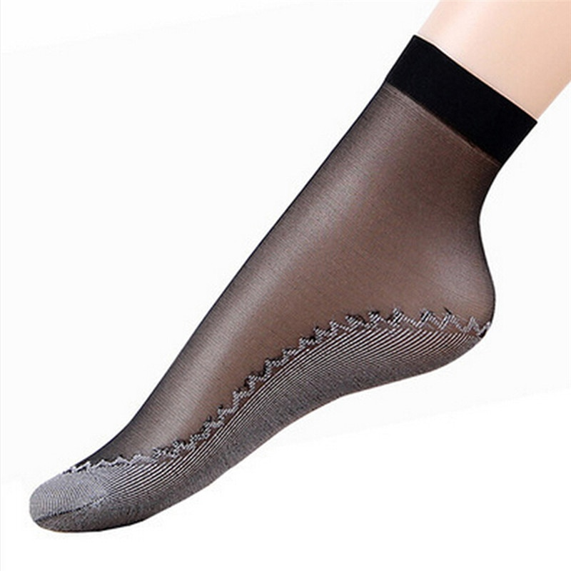 5/10Pairs Nude/Black Sock Women Socks Female Socks Summer Style Thin Transparent Socks Elastic Short Wear-Resistant Bottom Sock