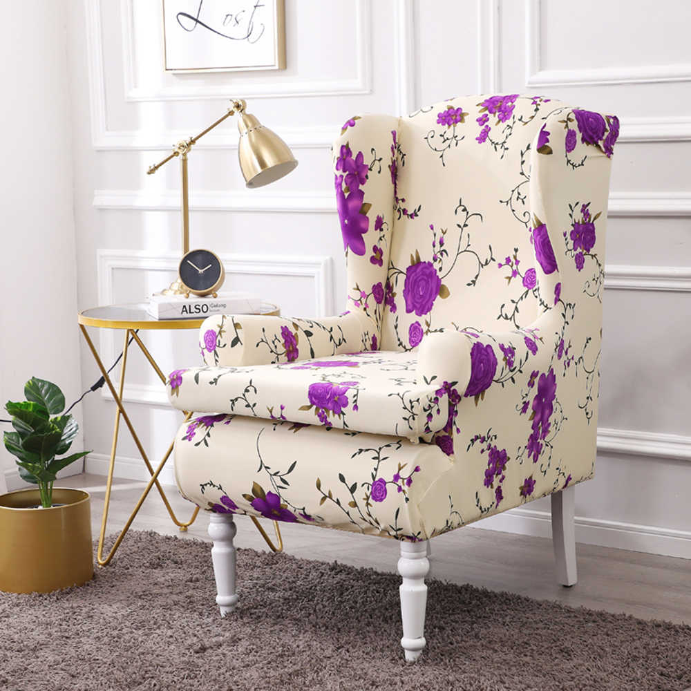 2 piece chair slipcovers spandex stretch sofa covers with arms printing fabric furniture protector