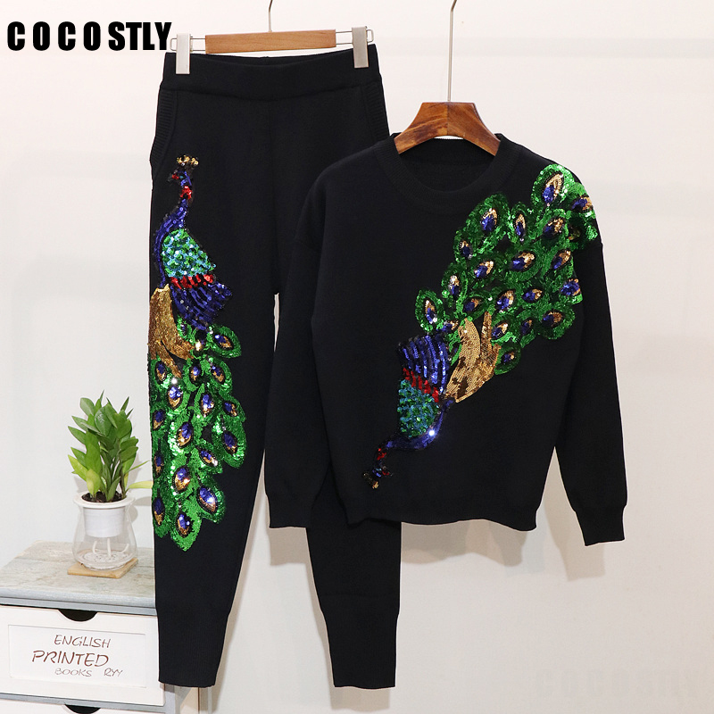 Autumn Winter 2 piece set women suits Peacock Sequins Jumper + Pants Sweater Suits tracksuit Women 2 pieces sets matching sets