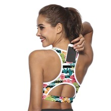 Women Sports Bra With Phone Pocket Print Compression Push Up Underwear Top Breat