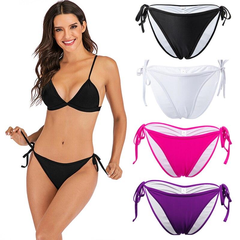 4 Color Women's Bikini Bottom Ladies Side Bandage Swim Trunks Sexy Swimwear Briefs Swimming Bottom  S-XL