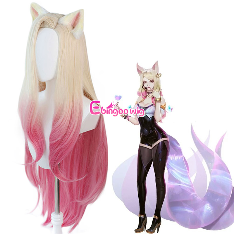 【Ebingoo】 KDA Baddest Ahri Cosplay Wigs LOL KDA Cosplay Blonde Mixed Pink Wigs with Ears Heat Resistant Synthetic Hair Game