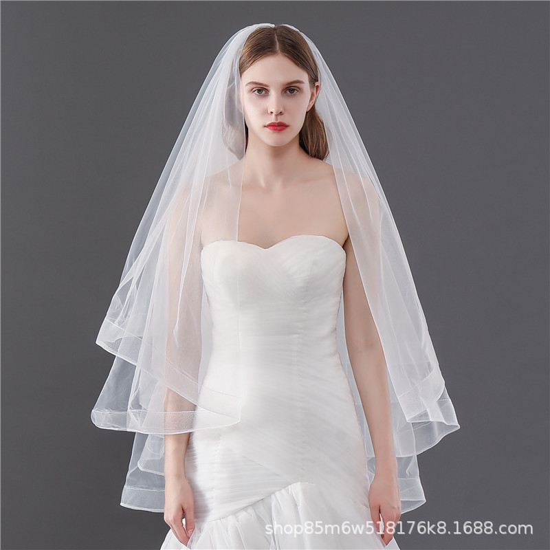 Korean Style New Style Immortal Simple Puffy Veil Double Layer Comb White Veil Photo Shoot Photo Bride Marriage Veil