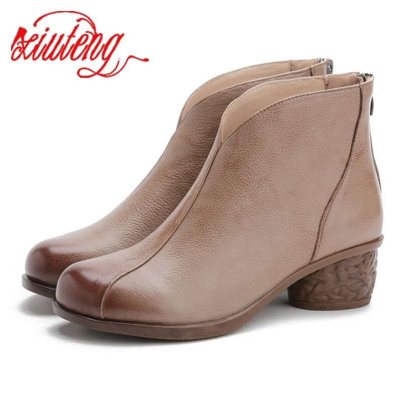 Xiuteng/модные женские ботильоны; Обувь из натуральной кожи; Женская обувь для мам; Женские мягкие Нескользящие ботинки с круглым носком; 2020|Полусапожки|   | АлиЭкспресс