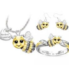 Cute Crystal Bee Jewelry Sets for Women Girls Statement Wedding Fashion Cartoon Animal Jewelry Set Jewelry faux crystal wedding jewelry set