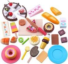 Iplay, ilearn crianças lanche comida brinquedos, fingir jogar cozinha, jogo de cozimento de madeira conjunto magnético frutas sobremesa corte conjuntos