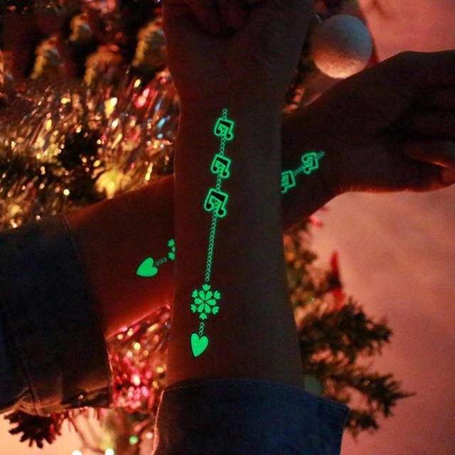Glow In The Dark Tattoos Stickers Temporary Luminous Lovely Christmas Party Tattoo Stickers Body Art Decorations Tool TSLM1