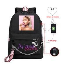 Mochila feminina ariana grande mochila de carregamento usb sacos de escola adolescentes meninas portátil voltar pacote de viagem das mulheres bagpack