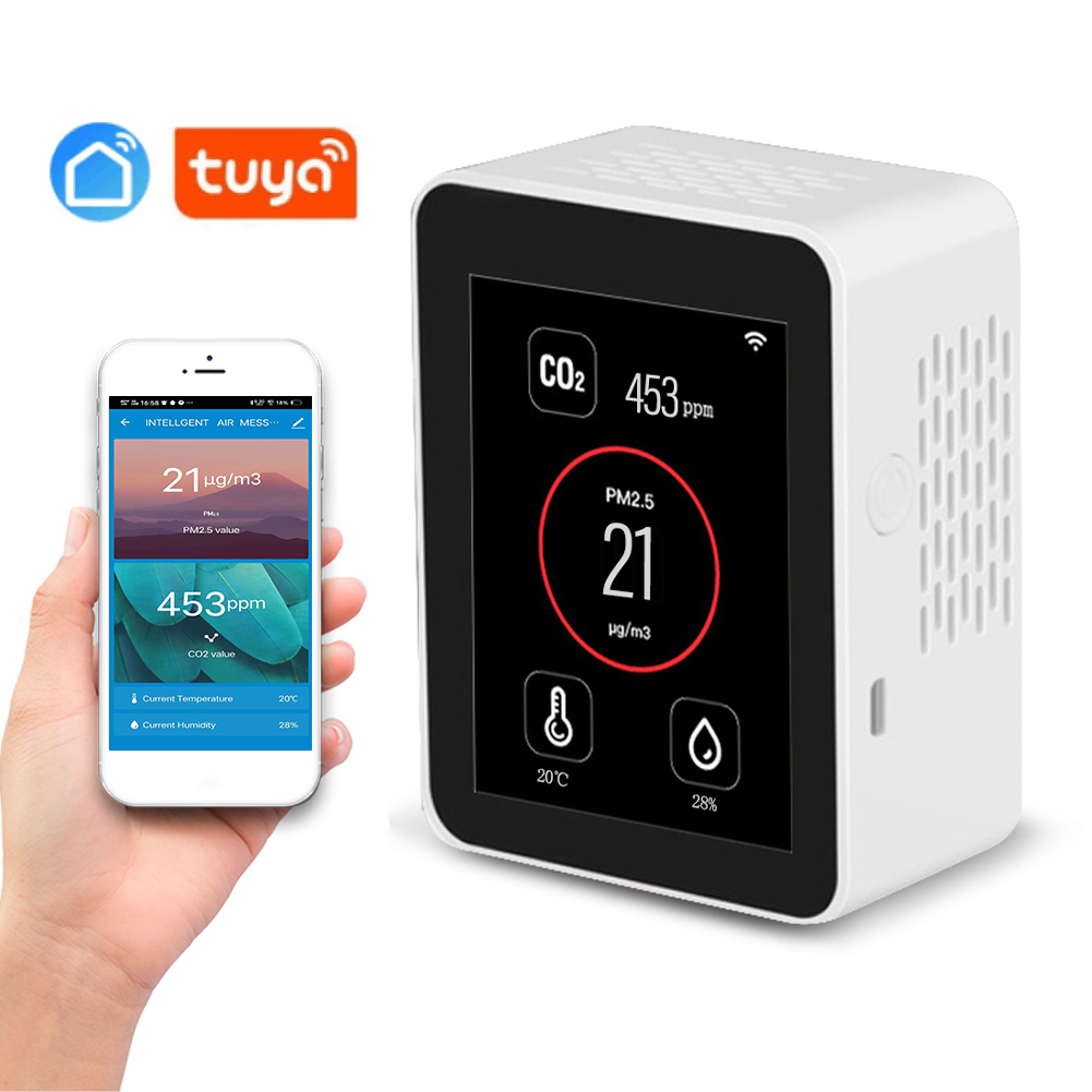 Датчик CO2 Tuya, многофункциональный детектор температуры и влажности воздуха, с Wi-Fi, PM2.5