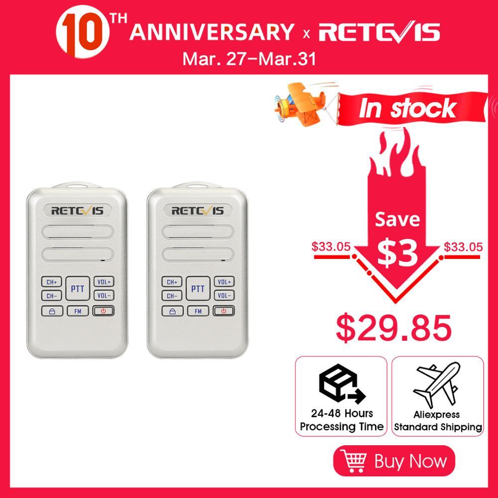 RETEVIS RT20 Mini Walkie-Talkie 2W UHF 400-470MHz FM 16CH 2PCS Business Two-way Radio Handheld Transceiver VOX TOT Comunicador