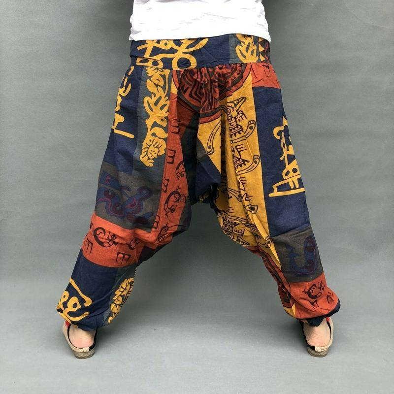 ¡Verano 2020! pantalones bombachos estilo étnico de algodón tailandés y lino, pantalones de baile sueltos Dongba, pantalones de tiro caído nepalés