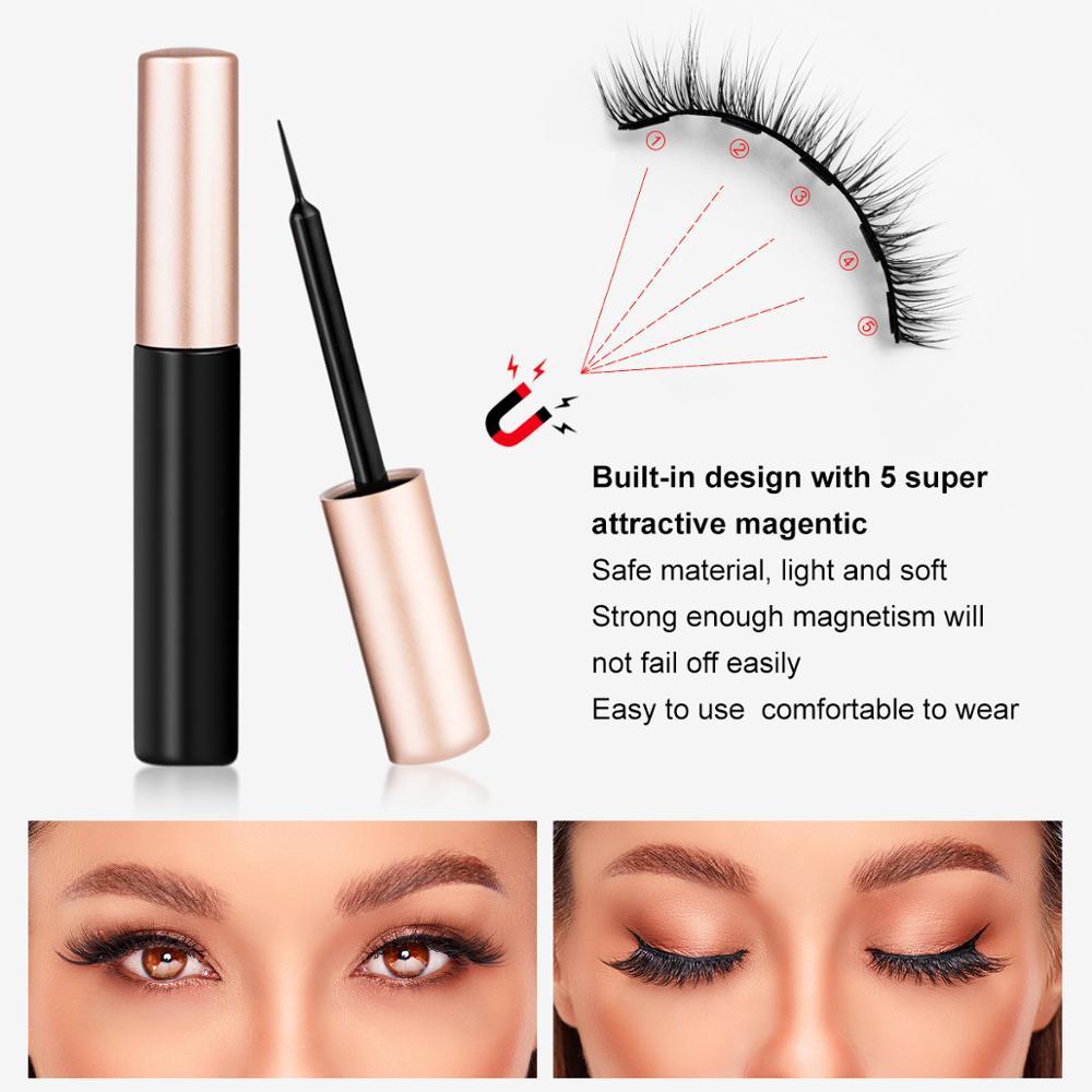 Magnetic Eyelashes 3D Mink Eyelashes Magnetic Eyeliner Magnetic Lashes Short False Lashes Lasting Handmade Eyelash Makeup Tool 5