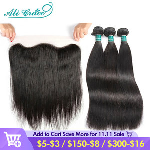 Ali Grace Straight Hair Bundles With Frontal 13x4 Medium Brown Lace Brazilian Human Hair Bundles With Frontal Free Shipping