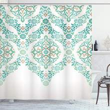 Traditional Shower Curtain, Retro Middle Age Symmetrical Traditional Gothic Garland Forms in Pastel Print, Cloth Fabric Bathroom(China)