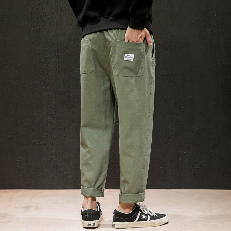 Dropshipping Male Sweatpants Joggers Autumn Japanese Mens Linen Losse Sweatpants Men Solid Harajuku Streetwear Harem Pants